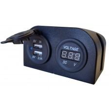USB / VOLTMETER POWER SOCKET SURFACE MOUNT