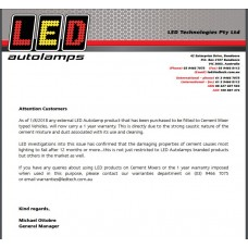 WARRANTY NOTICE LED AUTOLAMPS>CEMENT.1/8/2018